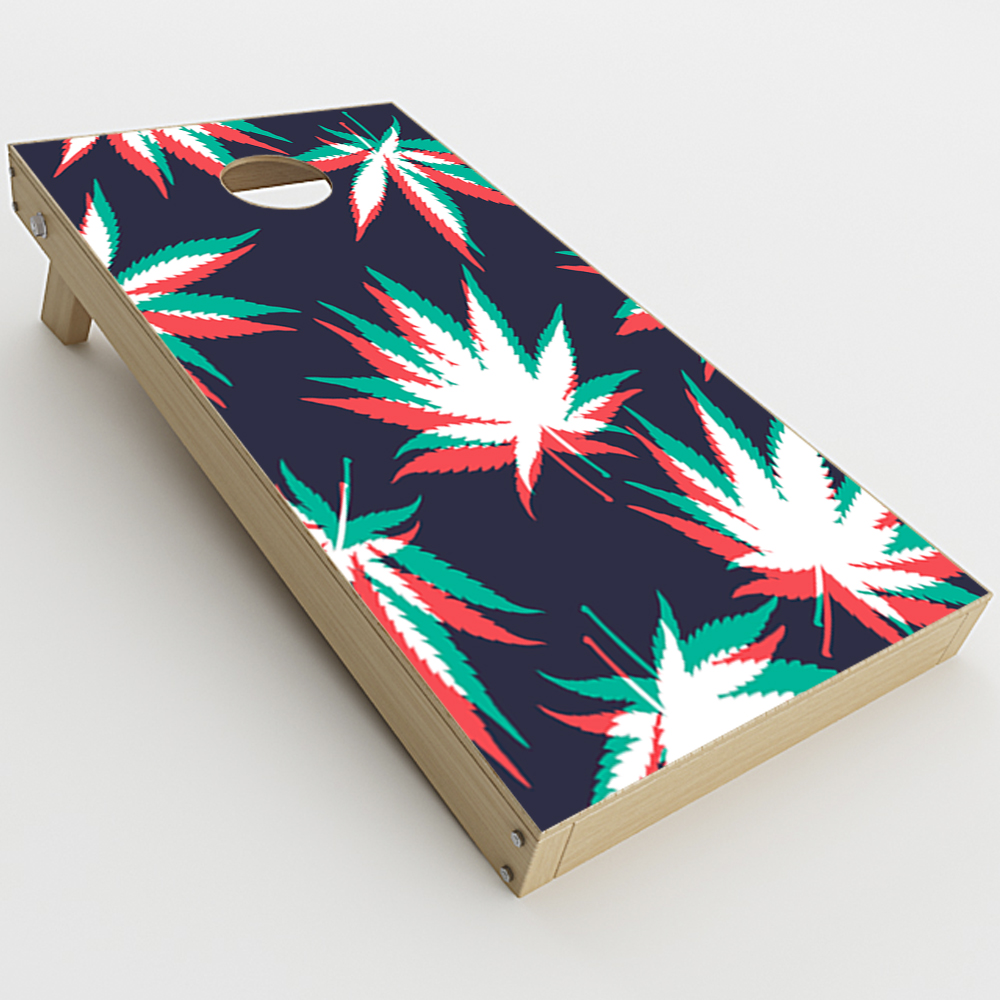 2xpcs. Skin Decal Vinyl Wrap for Cornhole Game Board Bag Toss Skins Stickers Cover Colorful Weed Leaves Leaf